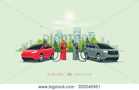 Electric Car Versus Gasoline Car Fuel Fight