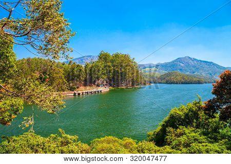 Dam Lake Near The Munnar Town In Kerala State Of India