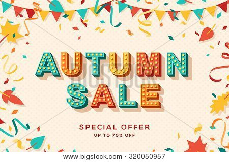 Autumn Sale Vector Banner Template. Seasonal Shopping Event, Special Discount Offer. Gift Coupon, Fa