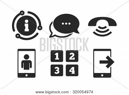 Smartphone Video Call Sign. Chat, Info Sign. Phone Icons. Call Center Support Symbol. Cellphone Keyb