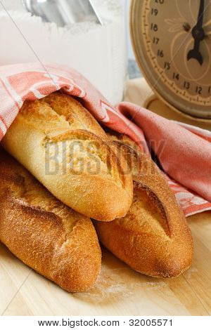 Three Fresh Baked Baguettes