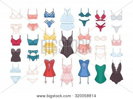 Bundle Of Womens Lingerie And Nightwear Sets Isolated On White Background. Collection Of Elegant Und