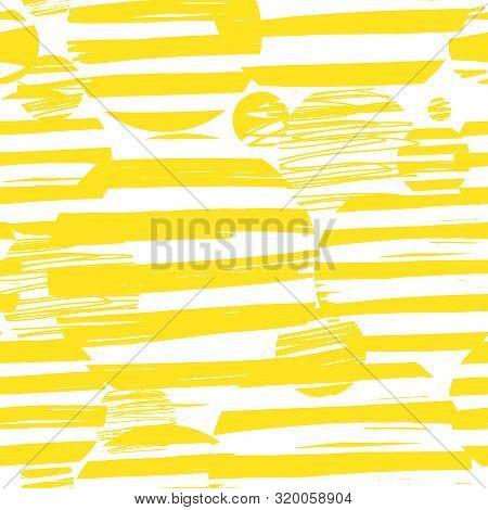 Pattern Of Yellow Circles Stripes. Geometric Pattern Of Circles And Stripes For Children And Adults