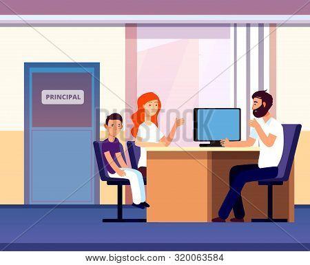 Principal Office. Mom Apprentice Teacher Meeting In School. Unhappy Parent Son Talk Angry Principal