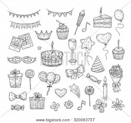 Birthday Sketch. Happy Birthday Celebration Party Hand Drawn Items. Cake Kids Holiday Doodle Art Dra