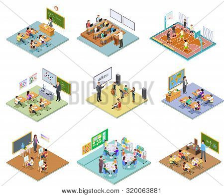 School Rooms Isometric. Library Dining Room Lecture Classroom Gym Sports Hall Toilet College Univers