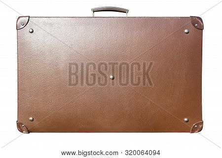 Old Brown Leather Suitcase, Isolated On A White Background With A Clipping Path.