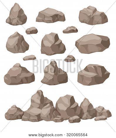 Rock Stones. Cartoon Stone Isometric Set. Granite Boulders Pile, Natural Building Block Materials. 3