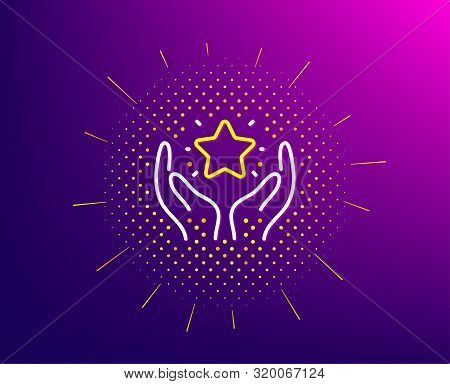 Ranking Line Icon. Halftone Pattern. Holding Star Sign. Best Rank Symbol. Gradient Background. Ranki