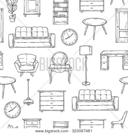 Sketch Furniture Pattern. Living Room Doodle Vintage Interior Vector Isolated Wallpaper Texture. Ill