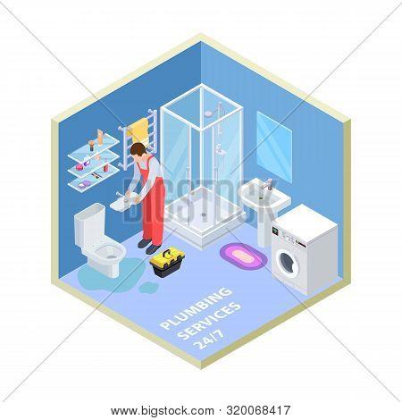 Plumbing Service. Isometric Bathroom. Vector Plumber Repairing Toilet. Illustration Installation Wor