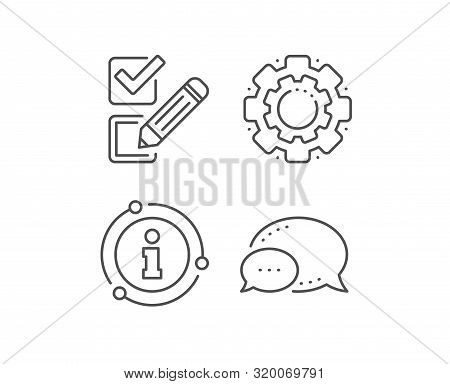 Checkbox Line Icon. Chat Bubble, Info Sign Elements. Survey Choice Sign. Business Review Symbol. Lin