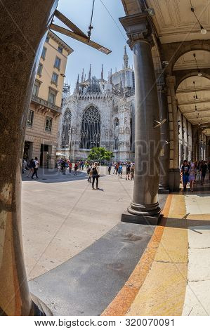 Milan, Italy - June 29, 2019: View Along The Street Corso Vittorio Emanuele Ii, A Central Street Wit
