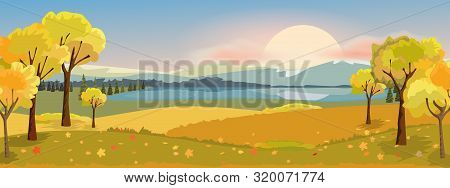 Panorama Autumn Landscape With Yellow Trees Mountain And Lake. Fantasy Wonderland Landscape In Fall