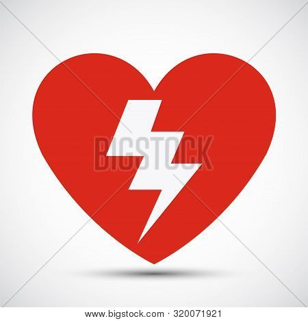 Aed Heart Red Icon Symbol Sign Isolate On White Background,vector Illustration Eps.10