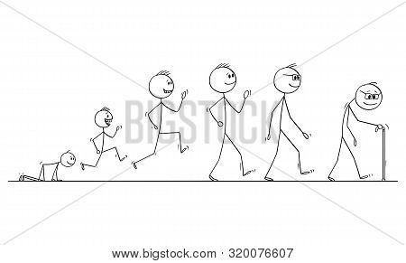 Vector Cartoon Stick Figure Drawing Conceptual Illustration Of Aging Process Of Human Man , From Bab