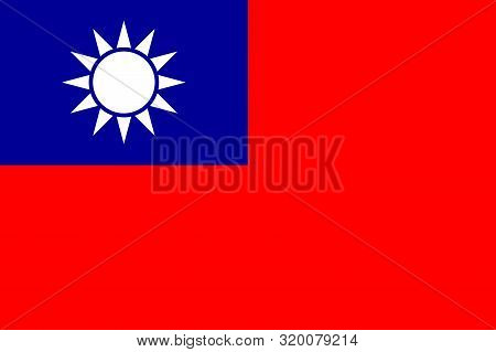 Flag Of Taiwan Officially Flag Of The Republic Of China Is A State In East Asia, A Vector Illustrati