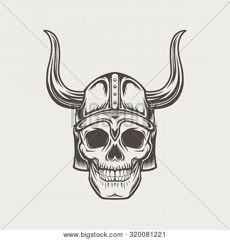 Black And White Scull In Horned Helmet. Vector Illustration