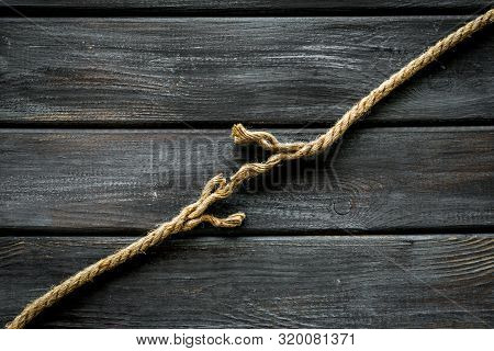 Stress Concept With Breaking Rope On Wooden Background Top View Mockup