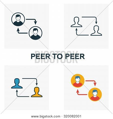 Peer To Peer Icon Set. Four Elements In Diferent Styles From Crypto Currency Icons Collection. Creat