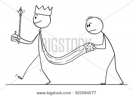 Cartoon Stick Figure Drawing Conceptual Illustration Of Fantasy Or Medieval King Walking With Servan