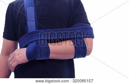 Shoulder Immobilizer Color Icon. Sling And Swathe. Broken Arm, Shoulder Injury Treatment. Arm Fix Br