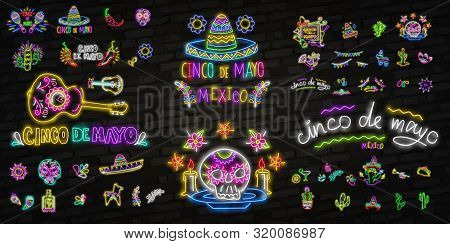 Neon Mexican Icons. Icon From Cinco De Mayo. Mexico Neon Sign. Cactus, Flag Mexico, Tequila, Mexican