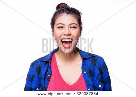 Portrait Cheerful Woman. Pretty Asian Woman Laughing Something. Attractive Beautiful Young Lady Get