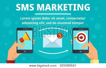 Smartphone Sms Marketing Concept Banner. Flat Illustration Of Smartphone Sms Marketing Vector Concep