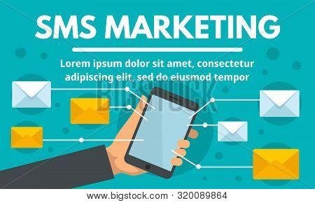 Online Sms Marketing Concept Banner. Flat Illustration Of Online Sms Marketing Vector Concept Banner