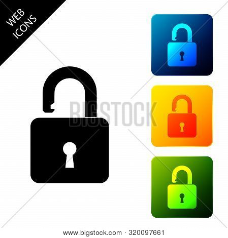 Open Padlock Icon Isolated. Opened Lock Sign. Cyber Security Concept. Digital Data Protection. Safet