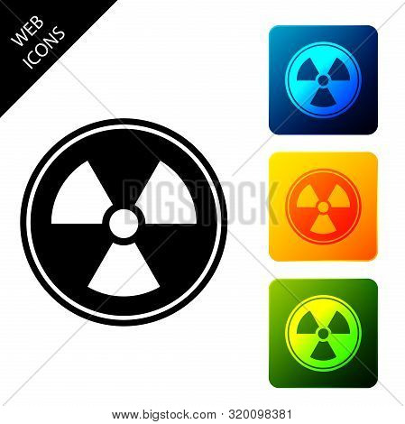 Radioactive Icon Isolated. Radioactive Toxic Symbol. Radiation Hazard Sign. Set Icons Colorful Squar