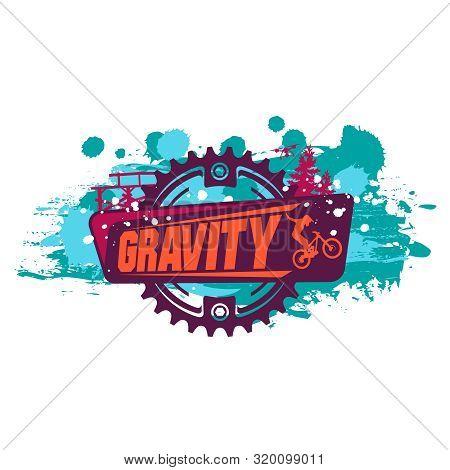 Gravity Mountain Biking. Downhill, Freeride .grunge Effect. Nice For T-shirt Print.