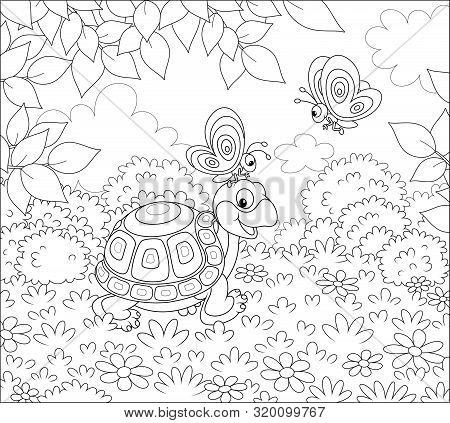 Friendly Smiling Turtle Playing With Small Butterflies On Grass Of A Forest Glade On A Wonderful Sum