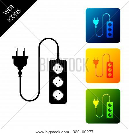 Electric Extension Cord Icon Isolated. Power Plug Socket. Set Icons Colorful Square Buttons. Vector