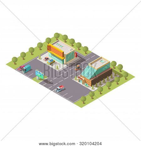 New Car Selling Salon, Passenger Vehicle Sale Dealer Showroom Building Exterior And Parking Isolated