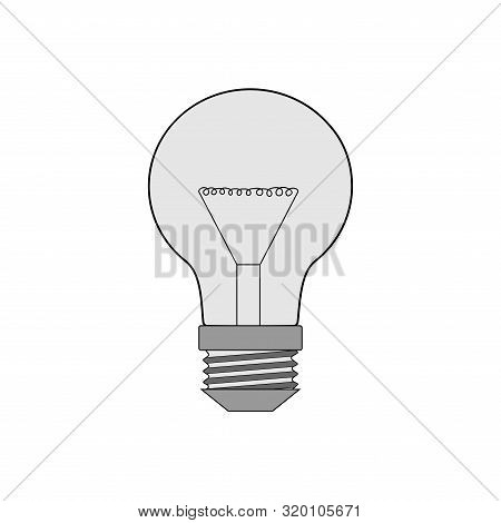 One Lamp Monochrome On White Background Sign. Graphic Symbol Of Electricity. Logo Of Power Or Techno