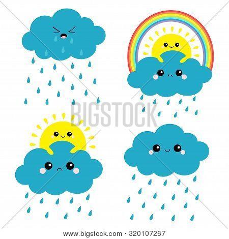 Sun, Cloud, Rainbow, Rain Set. Smiling Sad Face. Rain Drop Weather. Friends Forever. Fluffy Clouds.