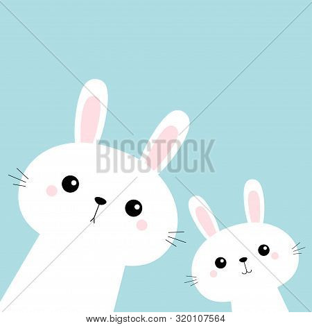 Two Rabbit Bunny Set In The Corner. Friends Forever. Cute Cartoon Kawaii Funny Baby Kids Character.