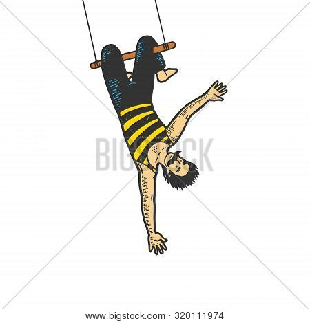 Circus Acrobat Hanging On Trapeze Performance Color Sketch Line Art Engraving Vector Illustration. T