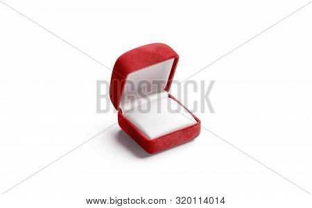 Blank Red Velvet Opened Ring Box Mockup, Isolated, 3d Rendering. Empty Scarlet Case With Lid Mock Up