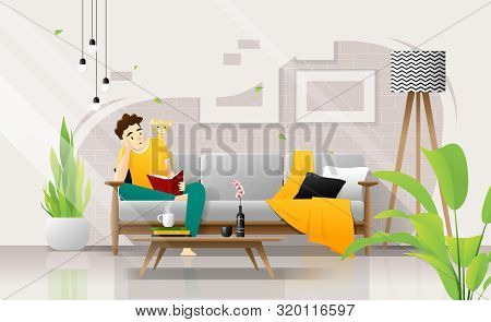 Happy Young Man Sitting On Sofa And Reading A Book In Living Room, Relaxing Weekend At Home ,vector