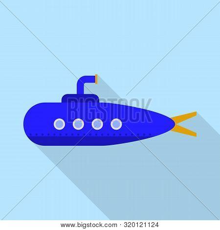 Blue Periscope Icon. Flat Illustration Of Blue Periscope Vector Icon For Web Design