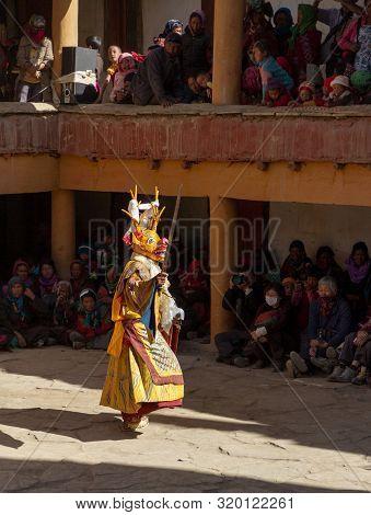 Hemis, India - June 29, 2012: Unidentified Monk In Dharmapala Mask With Ritual Knife (phurpa) Perfor