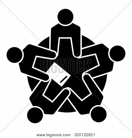 Group people cohesion icon. Simple illustration of group people cohesion vector icon for web design isolated on white background poster