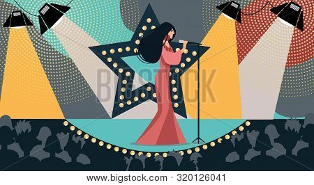 Cartoon Woman In Dress On Stage Sing Song Holding Microphone Hand Vector Illustration. Tv Talent Sho