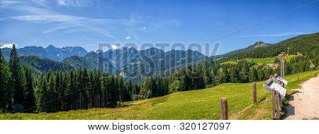 Sunny Summer Landscape With Solcava Panoramic Road, Logarska Dolina, Slovenia.a Popular Tourist And