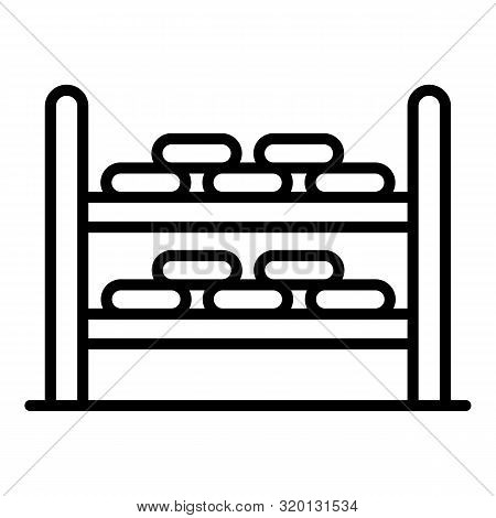 Shelving With Cheese Icon. Outline Shelving With Cheese Vector Icon For Web Design Isolated On White