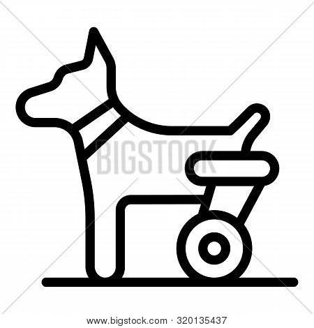 Dog hind legs trolley icon. Outline dog hind legs trolley vector icon for web design isolated on white background poster