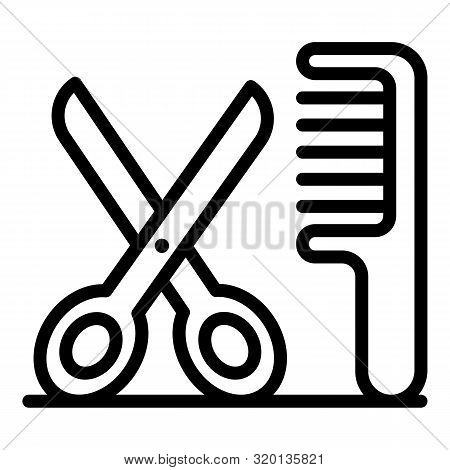 Scissors and comb icon. Outline scissors and comb vector icon for web design isolated on white background poster